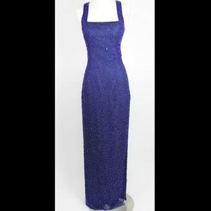 SCALA Royal blue beaded formal silk dress gown